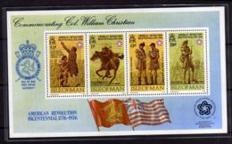 ISLE OF MAN ISOLA 1976 AMERICAN REVOLUTION BICENTENNIAL RIVOLUZIONE AMERICANA BLOCK SHEET BLOCCO FOGLIETTO MNH - Isola Di Man