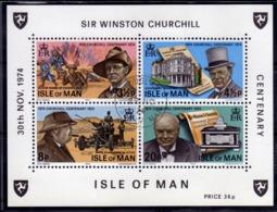 ISLE OF MAN ISOLA 1974 SIR WINSTON CHURCHILL BLOCK SHEET BLOCCO FOGLIETTO FDC FIRST DAY SPECIAL CANCEL - Isola Di Man