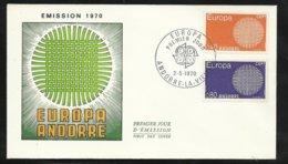 Andorre Lettre Premier Jour Le 02 Mai 1970   Europa 1970  Les N° 202 Et 203  TB  Soldé  ! ! ! - Europa-CEPT