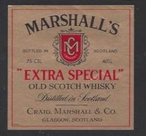 Etiquette De Scotch Wisky  -  Marshall's  -  Craig Marshall à Glasgow (Ecosse) - Whisky
