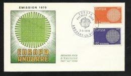 Andorre Lettre Premier Jour Le 02 Mai 1970   Europa 1970  Les N° 202 Et 203  TB   Soldé  ! ! ! - FDC