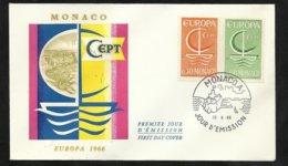 Monaco Lettre Premier Jour Le 26 Septembre 1966  Europa 1966  Les N° 501 Et 502  TB  Soldé ! !! - Europa-CEPT