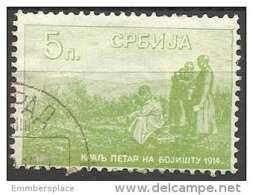 SERBIA - 1915 KING PETER ON BATTLEFIELD 5p GREEN USED  SG 178  Sc 132 - Serbia