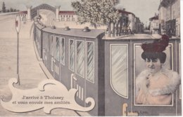 L100E_04 - Thoissey - J'arrive à Thoissey Et Vous Envoie Mes Amitiés - Train - TB - Autres Communes