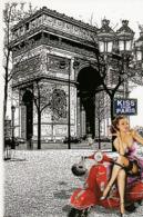 PIN-UP Assise Sur Une VESPA ROUGE (Transports: Motos). Illustration De L'Arc De Triomphe. KISS FROM PARIS - Pin-Ups