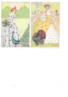 CPA 2 MIA WITT FEMMES FLEURS OISEAUX ART NOUVEAU - Illustrateurs & Photographes