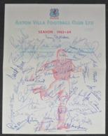 ORIGINAL ASTON VILLA Football Club Pre-Printed Autograph Season 1963/64   FOOTBALL CALCIO Authograph SIGNATURE - Authographs