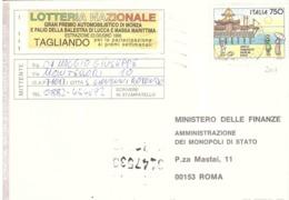 1992 £750 STABILIMENTI BALNEARI RIMINI SU CARTOLINA LOTTERIE NAZIONALI - 1991-00: Poststempel