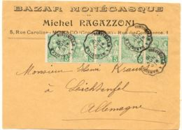 MONACO 1912 5C 5er-Streifen MONACO - LICHTENFELS TPO VINTIMILLE 1 MARSEILLE - Storia Postale