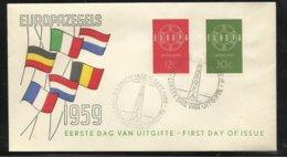 Lettre Premier Jour Pays- Bas  Cachet Illustré S-Gravenhagge Le 19/09/1959 Les N° 708 Et 709  TB Soldé ! ! ! - 1959