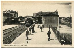 ASNIÈRES ( Sur SEINE ) La GARE  ( Train Locomotive Vapeur Quai Animé ) Collection E.S. - Asnieres Sur Seine