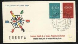 Lettre Premier Jour Belgique Cachet Illustré Salon Philatélique De L'Europe Liège Le 19/09/1959 Les N° 1111 Et 1112 TB - 1959