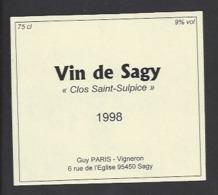 Etiquette De  Vin De Sagy 1998  -  Clos Saint Sulpice  -  Guy Paris à Sagy  (95) - Etiquettes