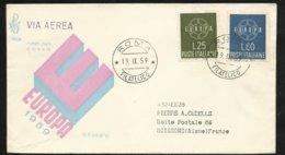 Lettre Circulée Par Avion Premier Jour Italie Rome Le 19/09/1959 Pour Soissons (FR) Les N° 804 Et 805 TB  Soldé ! ! ! - 1959