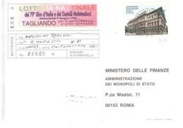 1993 £750 BANCA D'ITALIAI SU CARTOLINA LOTTERIE NAZIONALI - 1991-00: Poststempel