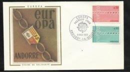 Andorre Lettre Maximum Premier Jour Le 8 Mai 1971 Europa 1971 Les N°212 Et 213  TB Soldé ! ! ! - Europa-CEPT