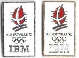 ALBERTVILLE 92 - JO21 - IBM - 2 Pin's Différents - Verso : C COJO / 1991 / C Cerclé - Juegos Olímpicos