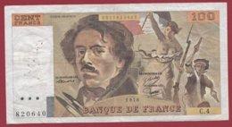 """100 Francs """"Delacroix"""" 1978 ---F/TTB+--ALPH C.4 --- ALPHABET 4  ---PEU COMMUN -- 100 FRANCS  HACHURE - 1962-1997 ''Francs''"""