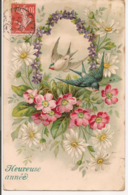 L100E252 - Heureuse Année - Couronne De Fleurs Et Oiseaux - Carte Gauffrée - New Year