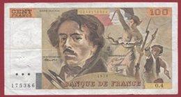 """100 Francs """"Delacroix"""" 1978 ---F/TTB+--ALPH O.4 -- ALPHABET 4----PEU COMMUN -- 100 FRANCS  HACHURE - 100 F 1978-1995 ''Delacroix''"""