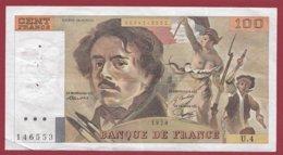 """100 Francs """"Delacroix"""" 1978 ---F/TTB+--ALPH .U.4 -- ALPHABET 4----PEU COMMUN -- 100 FRANCS  HACHURE - 100 F 1978-1995 ''Delacroix''"""