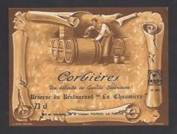 Etiquette De Vin Corbières  -  Réserve Du Restaurant La Chaumière à Mansigné ?  -  Maison Poirier La Flèche (72) - Etiquettes