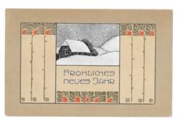 CPA FROLICHES NEUES JAHR ART NOUVEAU JUGENDSTIL - 1900-1949