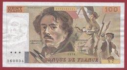 "100 Francs ""Delacroix"" 1978 ---VF/SUP--ALPH .Y.7 - 1962-1997 ''Francs''"
