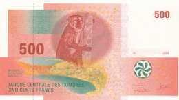 BILLET-BANQUE CENTRALE DES COMORES  CINQ CENTS  FRANCS - Comores