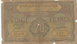 BILLET-BANQUE   DE L'ALGERIE  VINGT FRANCS - Argelia