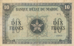 BILLET-BANQUE  D' ETAT DU MAROC  DIX   FRANCS - Marocco