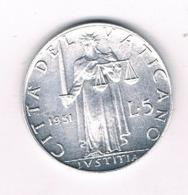 5 LIRE 1951 VATICAN /6868/ - Vatican