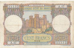 BILLET-BANQUE  D' ETAT DU MAROC  CENT   FRANCS - Marokko