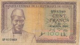 BILLET-BANQUECENTRALE DE LA    REPUBLIQUE   DE GUINEE CENT   FRANCS - Guinée