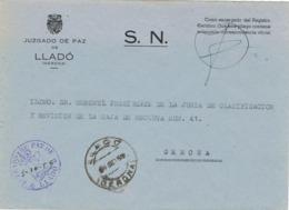 34012. Carta S.N. Franquicia Juzgado Paz LLADÓ (Gerona) 1959 - 1931-Hoy: 2ª República - ... Juan Carlos I