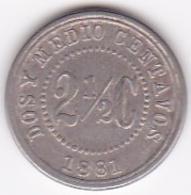 Colombia. 2 1/2 Centavos 1881. Copper-nickel. KM# 179 - Colombia