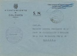 34013. Carta S.N. Franquicia Ayuntamiento COLOMÉS (Gerona) 1960 - 1931-Hoy: 2ª República - ... Juan Carlos I