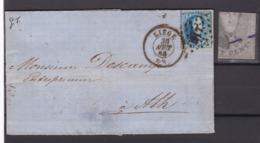 N° 15 / 15 A :  VARIETE 297  / Lettre De Liege Vers Ath 30 Aout 1865  Lac - 1863-1864 Medaillen (13/16)