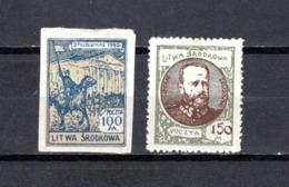 Lituania    1921   .-   Y&T  Nº    42/43    Ocupación Polonesa           (  42  No  Dentado  ) - Lituania