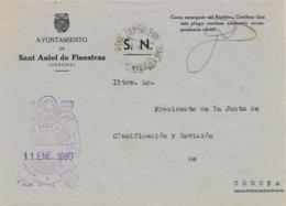 34014. Carta S.N. Franquicia Ayuntamiento SANT ANIOL De FINESTRAS (Gerona) 1960 - 1931-Hoy: 2ª República - ... Juan Carlos I