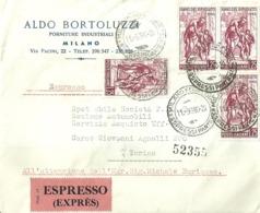 """5309 """" ALDO BORTOLUZZI - FORNITURE INDUSTRIALI - MILANO-INDIRIZZATA ALLA F.I.A.T. """" SPED. ESPRESSO-(SOLO BUSTA)ORIG. - Italy"""