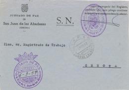 34015. Frontal Carta S.N. Franquicia Juzgado De Paz SAN JUAN ABADESAS (Gerona) 1959. Fechador A,P, Agencia Postal - 1931-Hoy: 2ª República - ... Juan Carlos I