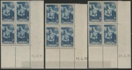 1938 / N°387 X12 A LA GLOIRE DE L'INFANTERIE 3 Blocs De 4, Coins Datés Du 13 15 Et 20 /4/38. Neufs Sans Charnières. TB - Dated Corners