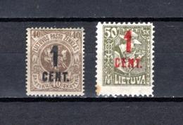 Lituania  1922  .-   Y&T  Nº    134/135 - Lituania