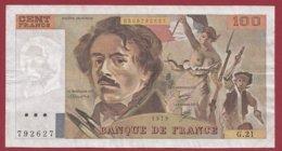 """100 Francs """"Delacroix"""" 1979 ---F/TTB+--ALPH .G.21 - 1962-1997 ''Francs''"""
