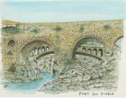 Hérault : Pont  Du  Diable  , Posté à St Genis  Des  Fontaines  1995, Illustrateur - France