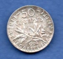 Semeuse   -  50 Centimes 1908  -- TTB+ - G. 50 Centimes