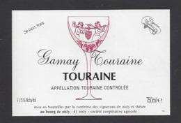 Etiquette De Vin Touraine Gamay 750 Ml  - Confrérie Des Vignerons De Oisly  (41)  -  Thème Porteurs Grappe De Raisin - Etiquettes