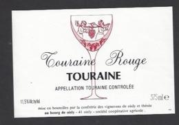 Etiquette De Vin Touraine Rouge 375 Ml  - Confrérie Des Vignerons De Oisly  (41)  -  Thème Porteurs Grappe De Raisin - Etiquettes