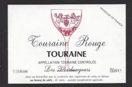 Etiquette De Vin Touraine Rouge 750 Ml  - Confrérie Des Vignerons De Oisly  (41)  -  Thème Porteurs Grappe De Raisin - Etiquettes